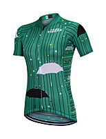 cheap -YORK TIGERS Women's Short Sleeve Cycling Jersey Silicone Elastane Terylene Green Bike Jersey Top Mountain Bike MTB Road Bike Cycling Breathable Quick Dry Reflective Strips Sports Clothing Apparel
