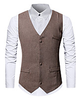 cheap -James Bond Gentleman Vintage Double Breasted Waistcoat Men's Slim Fit Costume Black / Burgundy / Apricot Vintage Cosplay Party Halloween / Vest