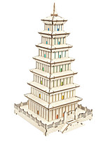 cheap -3D Puzzle Wooden Puzzle Tower Chinese Architecture Simulation Hand-made Wooden 132 pcs Kid's Adults' All Toy Gift