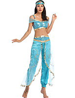 abordables -Princesse Jasmine Robe Casque Bal Masqué Femme Cosplay de Film Cosplay Halloween Bleu Haut Pantalon Coiffure Halloween Carnaval Mascarade Tulle Polyester