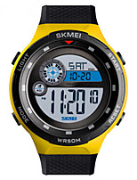 cheap -SKMEI Men's Digital Watch Digital Sporty PU Leather Black / Blue / Orange 30 m Water Resistant / Waterproof Calendar / date / day Chronograph Digital Outdoor - Black Orange Yellow Two Years Battery
