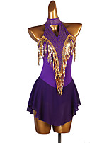cheap -Figure Skating Dress Women's Girls' Ice Skating Dress Purple Patchwork Stretch Yarn High Elasticity Competition Skating Wear Crystal / Rhinestone Sleeveless Figure Skating