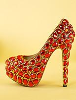 cheap -Women's Heels Stiletto Heel Round Toe Rhinestone / Crystal PU Vintage / Minimalism Fall & Winter Red / Wedding / Party & Evening