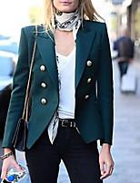 abordables -Femme Blazer Revers en Pointe Polyester Vert