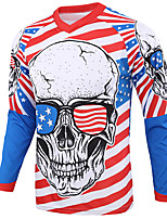 cheap -21Grams Men's Long Sleeve Cycling Jersey Downhill Jersey Dirt Bike Jersey Winter 100% Polyester Red+Blue Skull Bike Jersey Top Mountain Bike MTB Road Bike Cycling Thermal / Warm UV Resistant