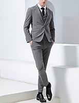 abordables -Noir / Gris Claire / Gris Couleur Pleine Coupe Sur-Mesure Polyester Costume - Cranté Droit 1 bouton / costumes