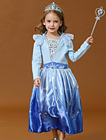cheap -Elsa Dress Masquerade Flower Girl Dress Girls' Movie Cosplay A-Line Slip Cosplay Halloween Blue / Pink Dress Halloween Carnival Masquerade Cotton