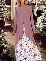 cheap -Women's Swing Dress - Floral Blushing Pink M L XL XXL
