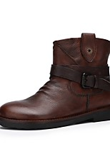 cheap -Women's Boots Low Heel Round Toe Leather Fall Brown