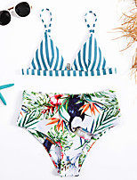 cheap -Women's Basic Rainbow Triangle Cheeky Tankini Swimwear - Floral Animal Backless Print S M L Rainbow