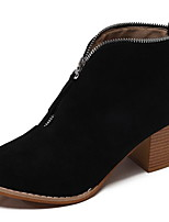 cheap -Women's Boots Chunky Heel Round Toe PU Booties / Ankle Boots Winter Black / Leopard / Beige