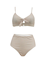 cheap -Women's Basic Blushing Pink Triangle Cheeky Bikini Swimwear - Geometric Bow Print S M L Blushing Pink