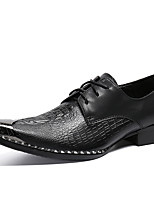 cheap -Men's Oxfords Business Casual British Daily Party & Evening Cowhide Handmade Non-slipping Wear Proof Black Fall Winter