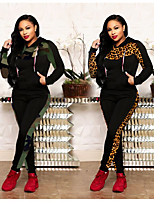 cheap -Women's 2-Piece Patchwork Tracksuit Sweatsuit 2pcs Running Fitness Jogging Windproof Breathable Soft Sportswear Camo Athletic Clothing Set Long Sleeve Activewear Micro-elastic Regular Fit / Leopard
