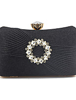 cheap -Women's Chain Satin Evening Bag Solid Color Black / Silver