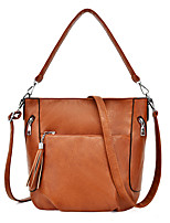 cheap -Women's Tassel Faux Leather / PU Top Handle Bag Solid Color Black / Brown / Wine
