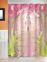 cheap -Shower Curtains with Hooks Pink Castle Polyester Novelty Fabric Waterproof Shower Curtain for Bathroom