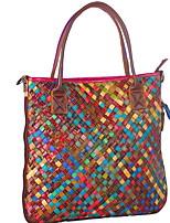 cheap -Women's Straw Top Handle Bag Geometric Pattern Rainbow