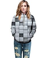 cheap -Women's Active / Street chic Hoodie - Geometric / Color Block / 3D Light gray L