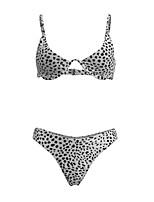 cheap -Women's Basic White Underwire Cheeky Bikini Swimwear - Polka Dot Leopard Backless Print S M L White