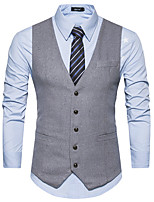 cheap -James Bond Gentleman Vintage Double Breasted Waistcoat Men's Slim Fit Costume Black / Gray & Black / Navy Blue Vintage Cosplay Party Halloween / Vest