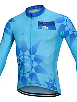 cheap -YORK TIGERS Men's Long Sleeve Cycling Jersey Winter Silicone Elastane Terylene Sky Blue Argyle Bike Jersey Top Mountain Bike MTB Road Bike Cycling Thermal / Warm Breathable Quick Dry Sports Clothing