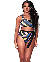 cheap -Women's Basic Blue Bandeau Cheeky High Waist Bikini Swimwear - Striped Geometric Lace up Print XL XXL XXXL Blue