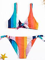 cheap -Women's Basic Blue Bandeau Cheeky High Waist Bikini Swimwear - Striped Color Block Lace up Print S M L Blue