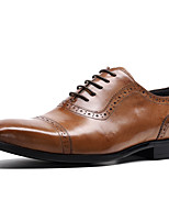 cheap -Men's Formal Shoes Nappa Leather Spring & Summer / Fall & Winter Casual / British Oxfords Non-slipping Black / Brown / Wine / Party & Evening