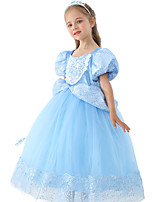cheap -Cinderella Dress Masquerade Flower Girl Dress Girls' Movie Cosplay A-Line Slip Cosplay Halloween Blue Dress Halloween Carnival Masquerade Tulle Polyester
