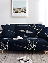 cheap -Navy Wintersweet Print Dustproof All-powerful Slipcovers Stretch Sofa Cover Super Soft Fabric Couch Cover with One Free Pillow Case