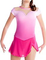 abordables -Robe de Patinage Artistique Femme Fille Patinage Robes Rose Mosaïque Spandex Haute élasticité Entraînement Compétition Tenue de Patinage Mosaïque Manches Courtes Patinage sur glace Patinage Artistique