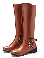 cheap -Women's Boots Flat Heel Round Toe PU Mid-Calf Boots Winter Black / Brown