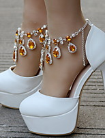 cheap -Women's Wedding Shoes Stiletto Heel Round Toe PU Winter White / Purple / Gold