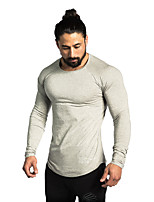 cheap -Men's Round Neck Compression Shirt Running Shirt Solid Colored Black White Gray Khaki Cotton Running Fitness Jogging Tee / T-shirt Long Sleeve Sport Activewear Windproof Breathable Quick Dry Soft