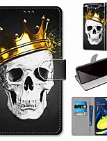cheap -Case For Samsung Galaxy S10 / S10 Plus / S10 E Wallet / Card Holder / with Stand Crown Skull PU Leather / TPU for A10s / A20s / A50(2019) / A70(2019) / A90(2019) / Note 10 Plus / J6 Plus(2018)