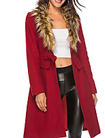 cheap -Women's Daily Fall & Winter Long Coat, Solid Colored V Neck Long Sleeve Polyester Wine