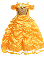 cheap -Belle Dress Masquerade Flower Girl Dress Girls' Movie Cosplay A-Line Slip Cosplay Halloween Yellow Dress Halloween Carnival Masquerade Tulle Silk