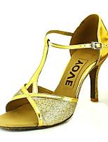 cheap -Women's Dance Shoes PU Latin Shoes Buckle Heel Flared Heel Gold