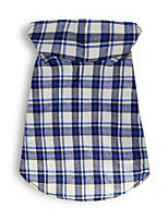 cheap -Dog Vest Winter Dog Clothes Blue Costume Cotton Plaid / Check Cosplay XS S M L