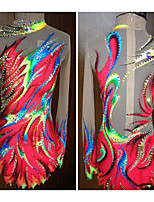 cheap -Rhythmic Gymnastics Leotards Artistic Gymnastics Leotards Women's Girls' Leotard Fuchsia Spandex High Elasticity Handmade Jeweled Diamond Look Long Sleeve Competition Dance Rhythmic Gymnastics