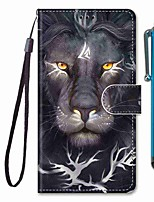 cheap -Case For Samsung Galaxy S10 / S10 Plus / S10 E Wallet / Card Holder / with Stand Curly Lion Head PU Leather / TPU for A10s / A20s / A50(2019) / A70(2019) / A90(2019) / Note 10 Plus / J6 Plus(2018)