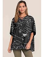cheap -Women's Daily Basic Blouse - Geometric Black