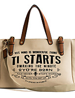 cheap -Women's Zipper Canvas Top Handle Bag Letter Black / Blue / Beige
