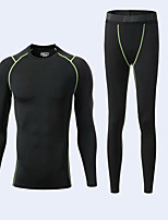 cheap -Men's Side-Stripe 2-Piece Tracksuit Compression Suit 1 set Crew Neck Running Fitness Jogging Lightweight Breathable Soft Sportswear Normal Base layer Compression Clothing Clothing Suit Long Sleeve