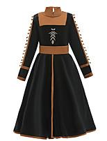 cheap -Princess Anna Dress Flower Girl Dress Girls' Movie Cosplay A-Line Slip Halloween Black Dress Halloween