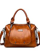 cheap -Women's Rivet / Zipper Faux Leather / PU Top Handle Bag Solid Color Black / Brown / Blushing Pink