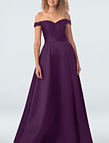 cheap -A-Line Off Shoulder Floor Length Satin Elegant Prom / Formal Evening Dress 2020 with Pleats