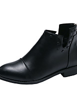 cheap -Women's Boots Low Heel Round Toe PU Fall Black