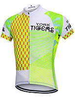cheap -YORK TIGERS Men's Short Sleeve Cycling Jersey Silicone Elastane Terylene Green / Yellow Geometic Argyle Bike Jersey Top Mountain Bike MTB Road Bike Cycling Breathable Quick Dry Reflective Strips